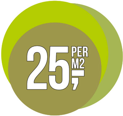 € 25,- per m2