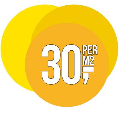 € 30,- per m2