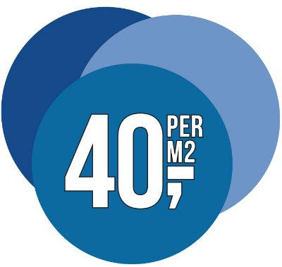 € 40,- per m2